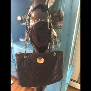 DKNY Black Lamb Leather Quilted Gold Chain Purse
